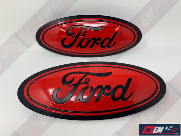 2015+ Ford Genuine Parts F-150 Custom Painted Grille & Tailgate Oval- Flat Black/ Gloss Red
