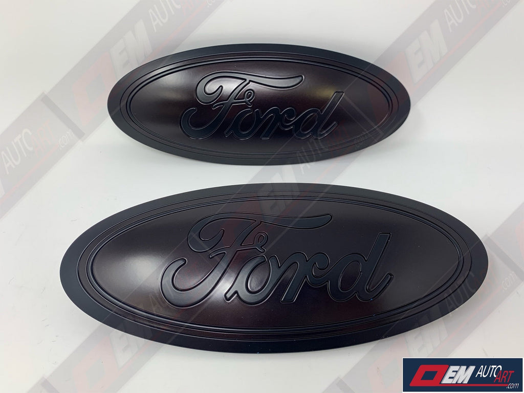 2015-2020 Ford Genuine Parts F-150 Custom Painted Grille & Tailgate Oval- Flat Black/ Semi Gloss Magma Red (E2) | OEMAUTOART