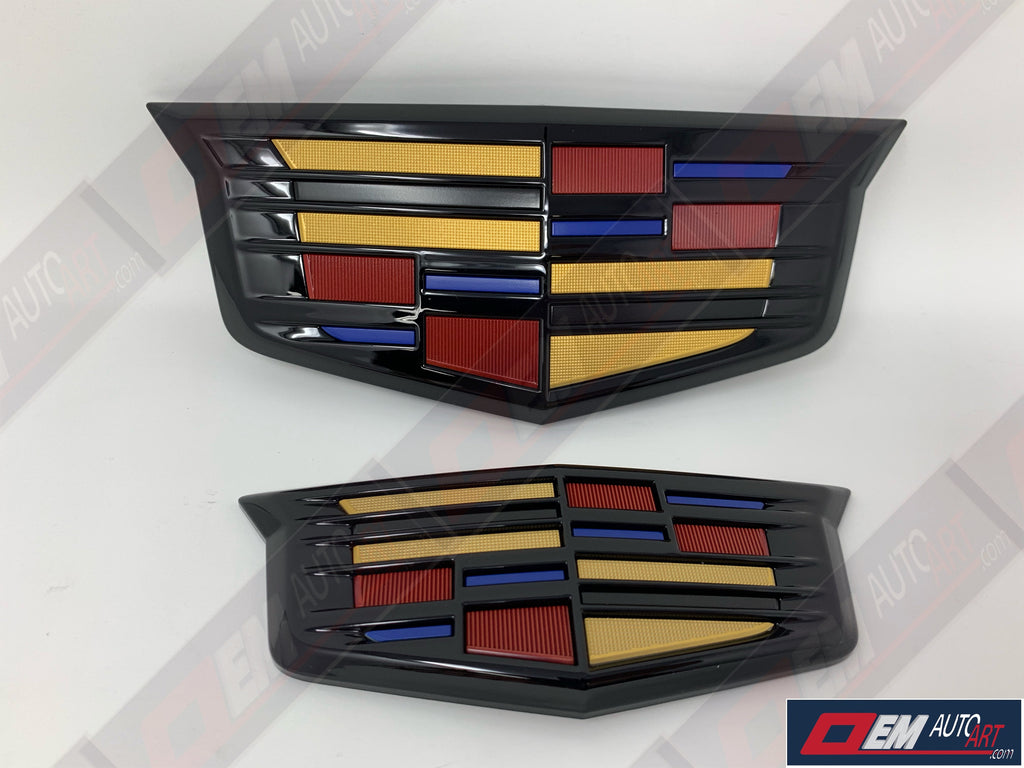 OEM 2017-2020 Cadillac XT5 Grille & Hatch Emblem Set Custom Painted in Cadillac Colors