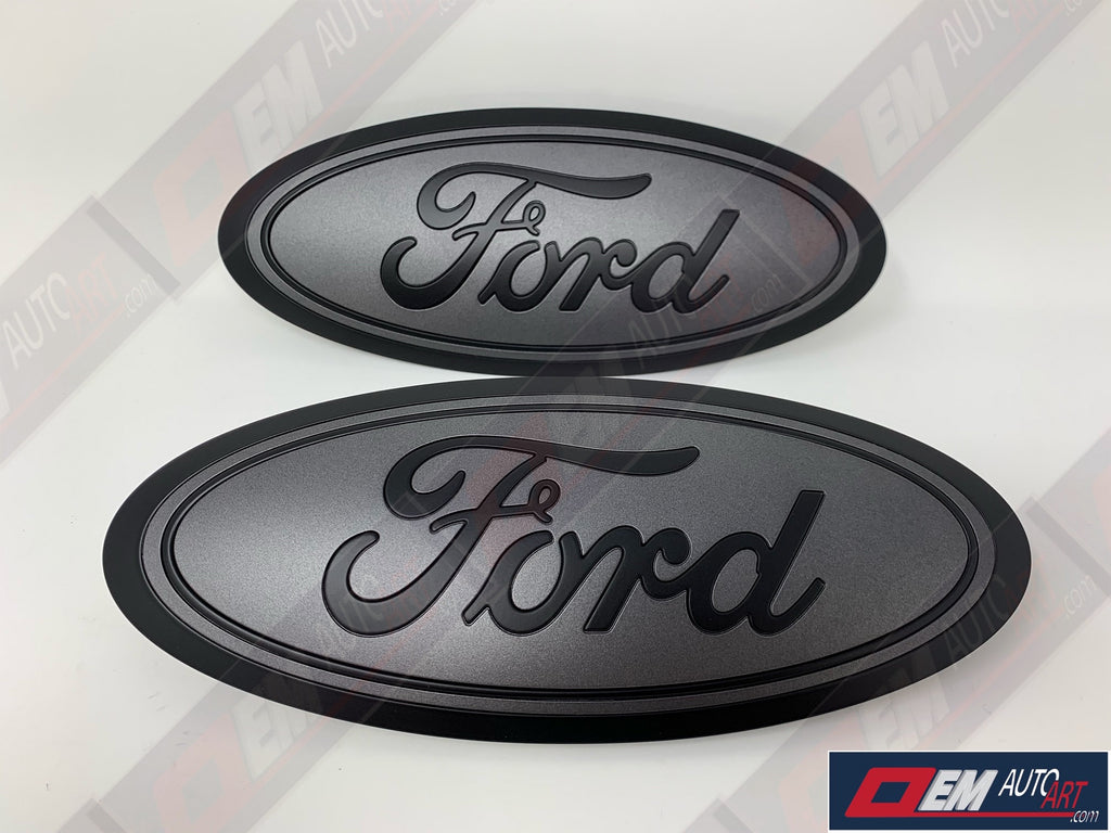2015+ Ford Genuine Parts F-150 Custom Painted Grille & Tailgate Oval- Flat Black/ Flat Magnetic (J7)