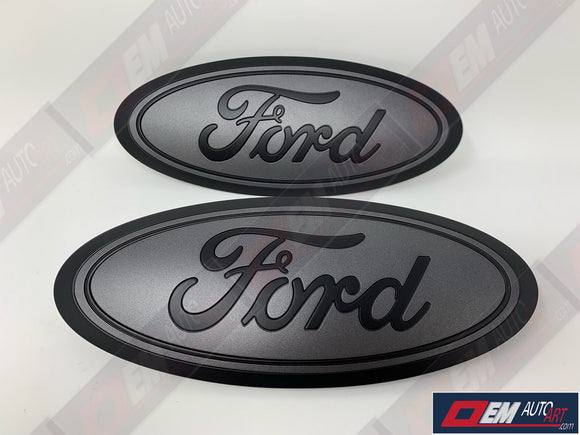 2015-2020 Ford Genuine Parts F-150 Custom Painted Grille & Tailgate Oval- Flat Black/ Flat Magnetic (J7) | OEMAUTOART