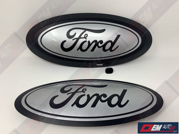 17+ Custom Ford F-Series Super Duty F-250/ F-350/F-450/F-550 Grille/ Tailgate Ford Oval Set - Flat Black/ Gloss Ignot Silver (UX) | OEMAUTOART