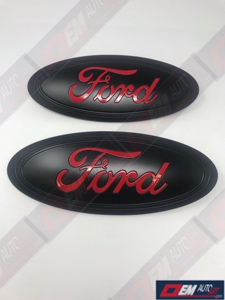 "2015+ Ford Genuine Parts F-150 Custom Painted Grille/ Tailgate Oval- Semi Gloss Black/  ""Ford"" Gloss Race Red (PQ)"
