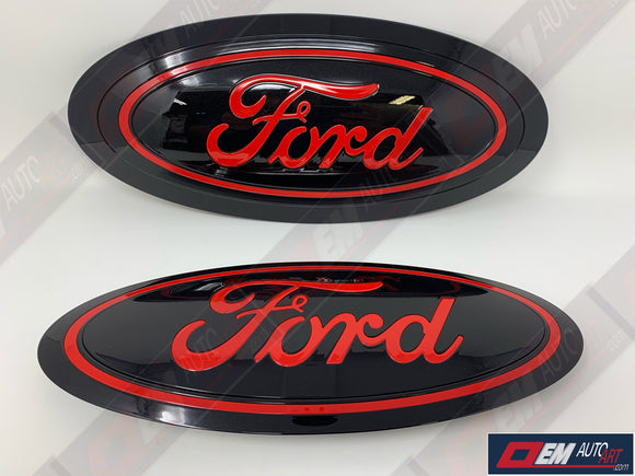 17+ Custom Ford F-Series Super Duty F-250/ F-350/F-450/F-550 Grille/ Tailgate Ford Oval Set - Gloss Black/ Gloss Race Red (PQ) | OEMAUTOART