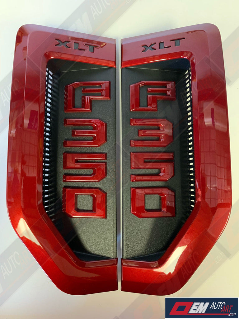 17+ Custom Ford F-Series Super Duty F-350 XLT Custom Fender Vent Emblem Set- Ruby Red (RR) | OEMAUTOART