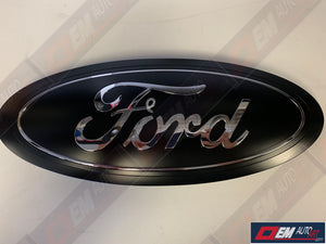 "2017-2018-2019 Ford Genuine Parts Super Duty Custom Painted Tailgate Oval- Flat Black / ""Ford"" & Inner Ring Chrome 