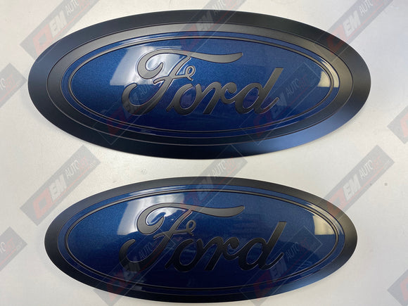 2017-2019 Ford Genuine Parts Super Duty Grille/Tailgate Oval Set - Flat Black/ Blue Jeans Met (N1)
