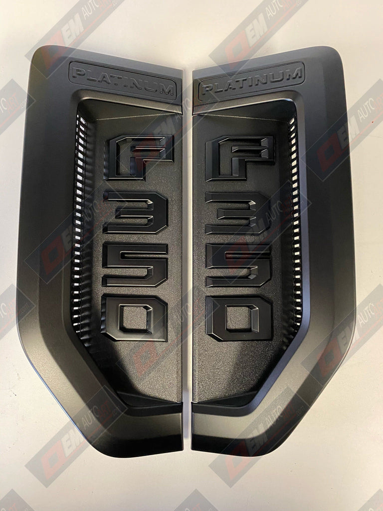 17+ Custom Ford F-Series Super Duty F-350 King Ranch/ STX/ Platinum/ Limited Custom Fender Vent Emblem Set- Flat Black | OEMAUTOART