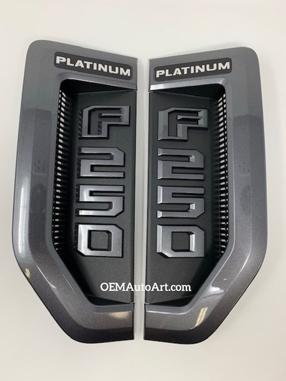 17+ Custom Ford F-Series Super Duty F-250 Platinum Fender Vent Emblem Set- Gloss Magnetic  (J7) | OEMAUTOART