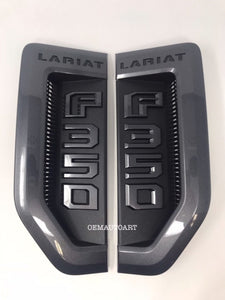 17+ Custom Ford F-Series Super Duty F-350 Lariat Fender Vent Emblem Set- Gloss Magnetic (J7)/ Gloss Magnetic (J7) | OEMAUTOART