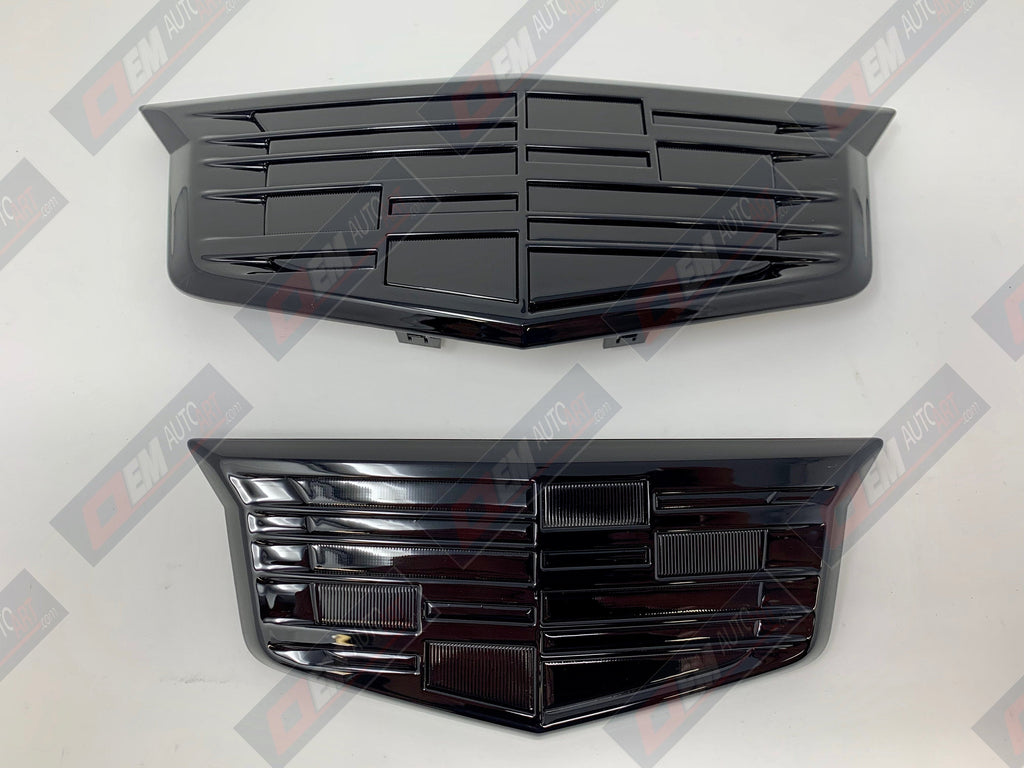 OEM 2015-2020 Cadillac Escalade/ ESV Grille & Hatch Emblem Set Custom Painted in Cadillac Colors