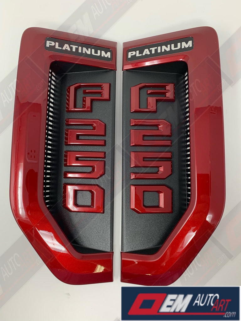 17+ Custom Ford F-Series Super Duty F-250 Platinum Fender Vent Emblem Set- Ruby Red Tri Coat (RR) | OEMAUTOART