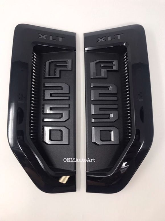 17+ Custom Ford F-Series Super Duty F-250 XLT Custom Fender Vent Emblem Set- Gloss Black (UA)/ Magnetic (J7) | OEMAUTOART