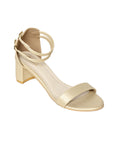 Monrow Remington Gold Elastic Block Heel
