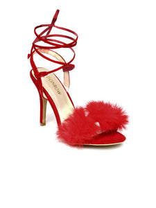 Red Fur Finesse Kitten Heel