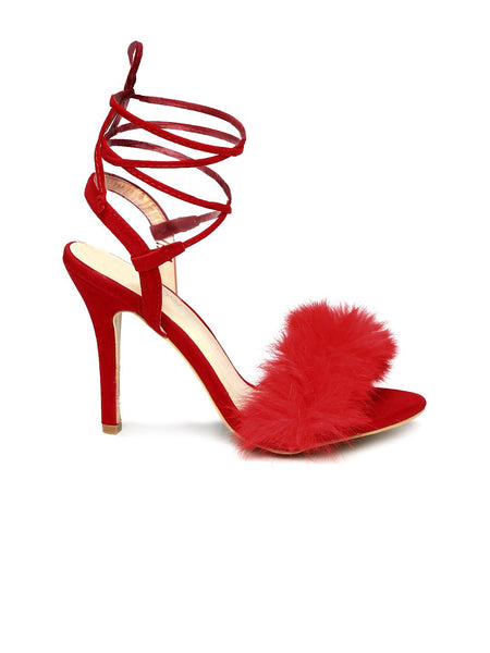 Monrow Red Fur Finesse Kitten Heel