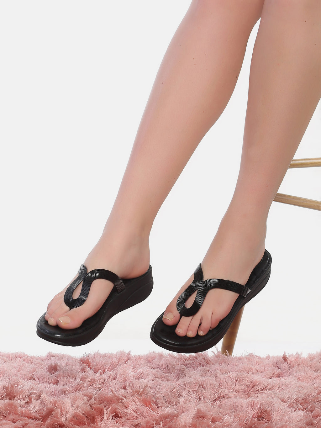 Aliya Black Wedge Heel