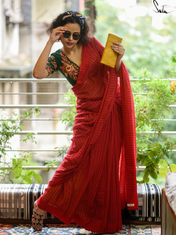 My Photo In A Red Saree - suta.in