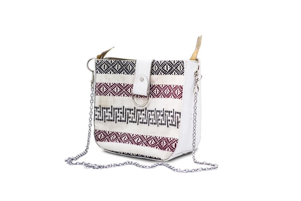 Traditional bhutanese raw silk bag (maroon and black pattern)