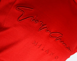 GIORGIO ARMANI  Cotton T-shirt with flocked signature print - RED 6GSM90SJRQZ1U5N8