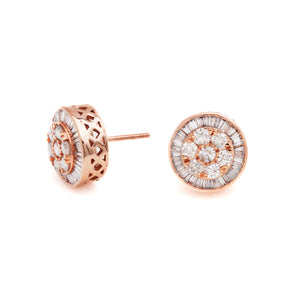 Mixed Diamond Round Cluster Earrings