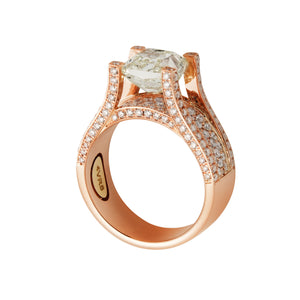 Accented Halo Solitaire Diamond Set Ring