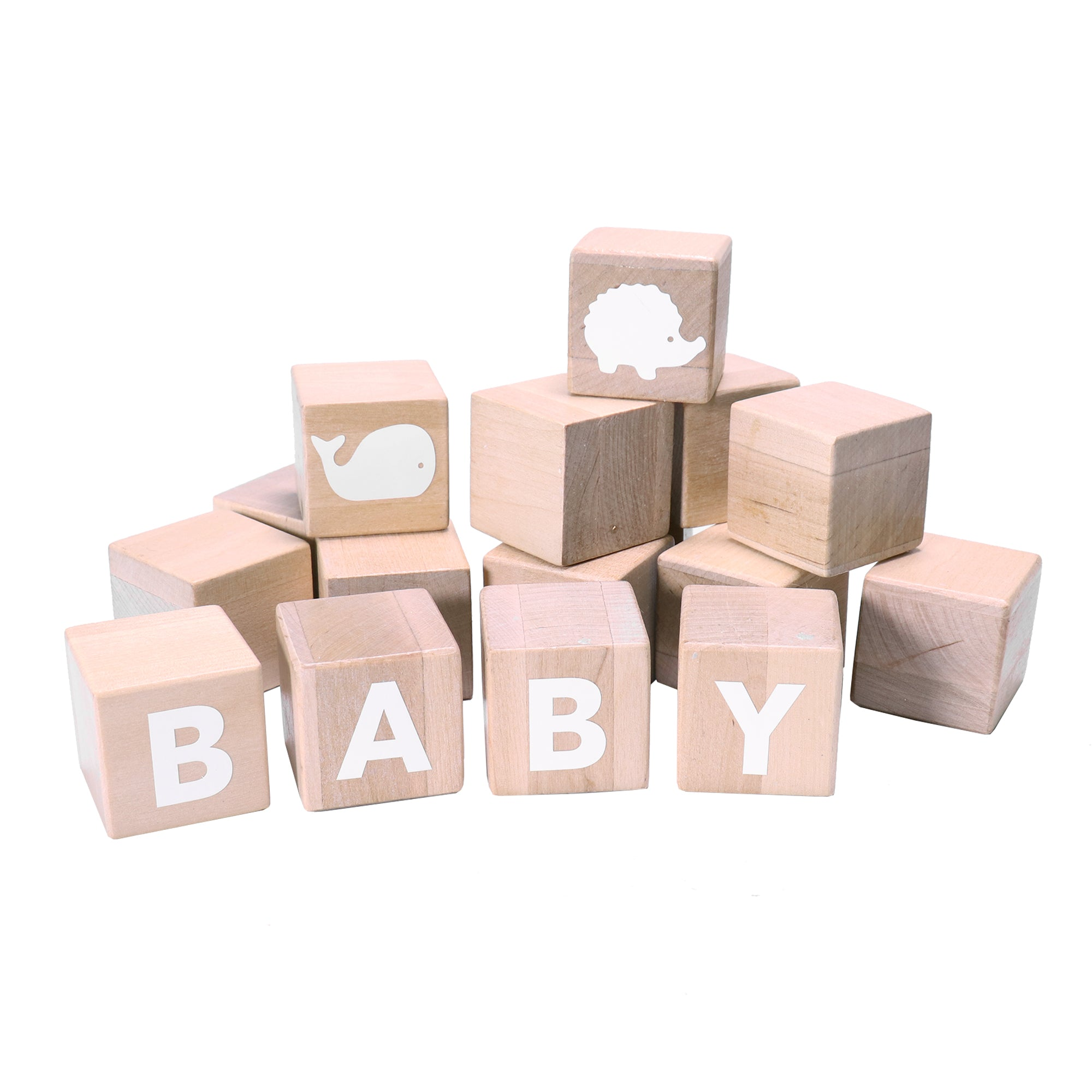 Alphabet Blocks with white stickers