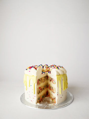 Funfetti birthday cake cut
