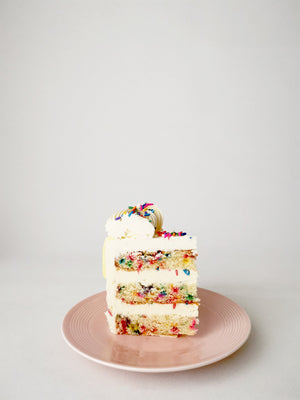 Funfetti birthday cake slice