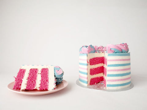 Dutch mice gender reveal cake slice