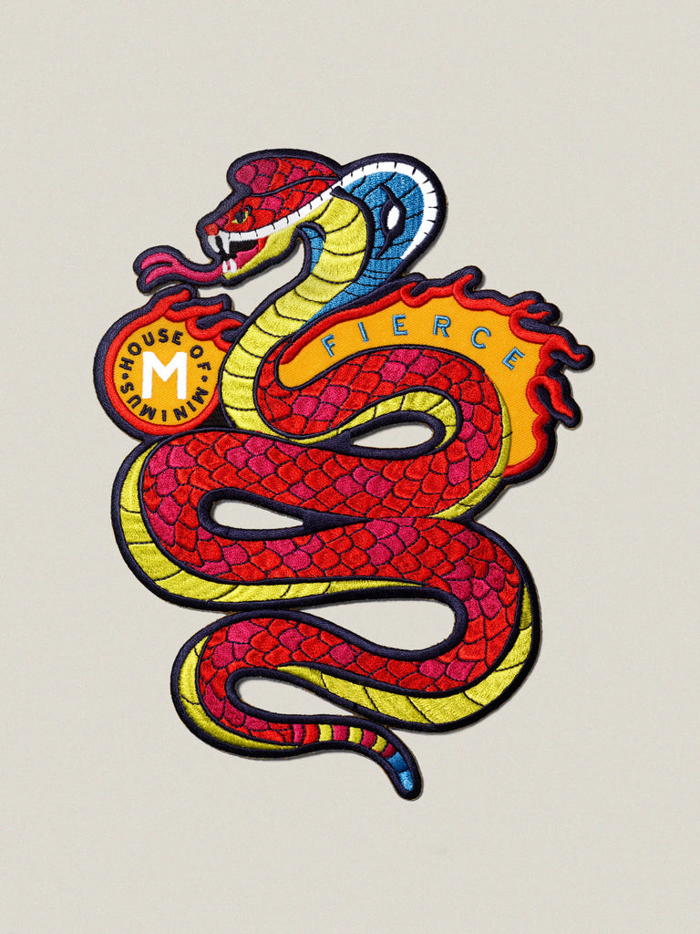 Large iron-on embroidered badge: Fierce Cobra
