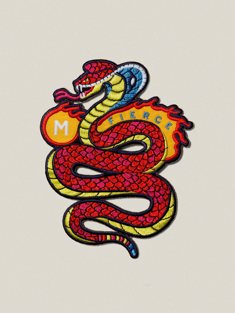 Small Iron-on Embroidered Badge: Fierce Cobra