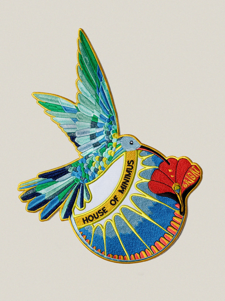 Large iron-on embroidered badge: Bright Hummingbird