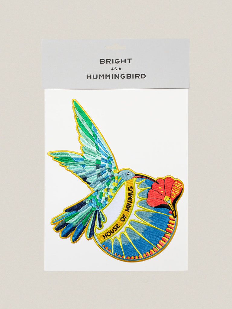 Large iron-on embroidered Bright Hummingbird badge