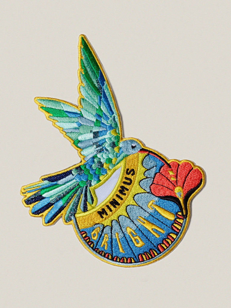 Small iron-on embroidered badge: Bright Hummingbird