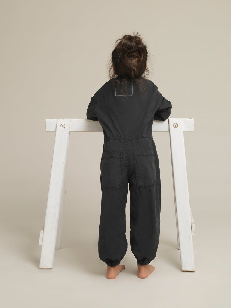Toddlers' Black Shirtweight Boilersuit