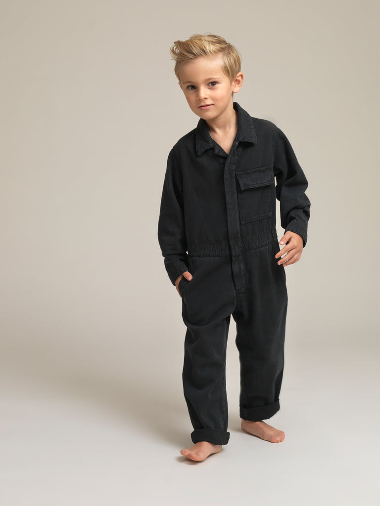 Kids' Black Twill Boilersuit