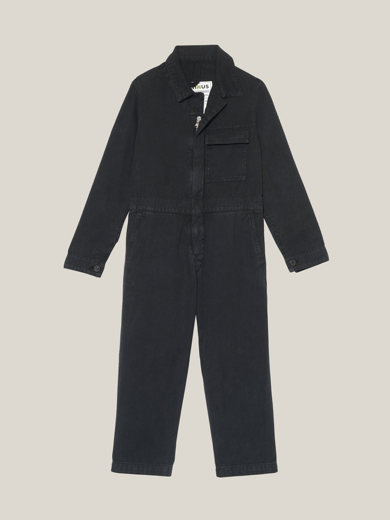Toddlers' Black Twill Boilersuit