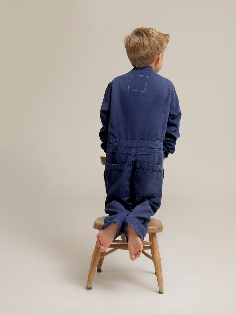 Toddlers' Blue Twill Boilersuit