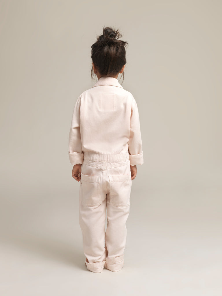 Toddlers' Pink Twill Boilersuit