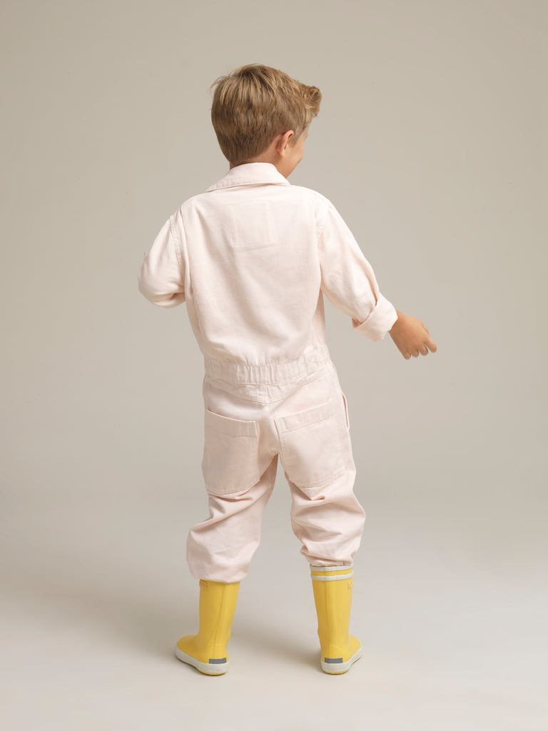 Kids' Pink Twill Boilersuit