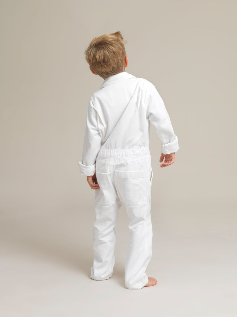 Kids's White Twill Boilersuit