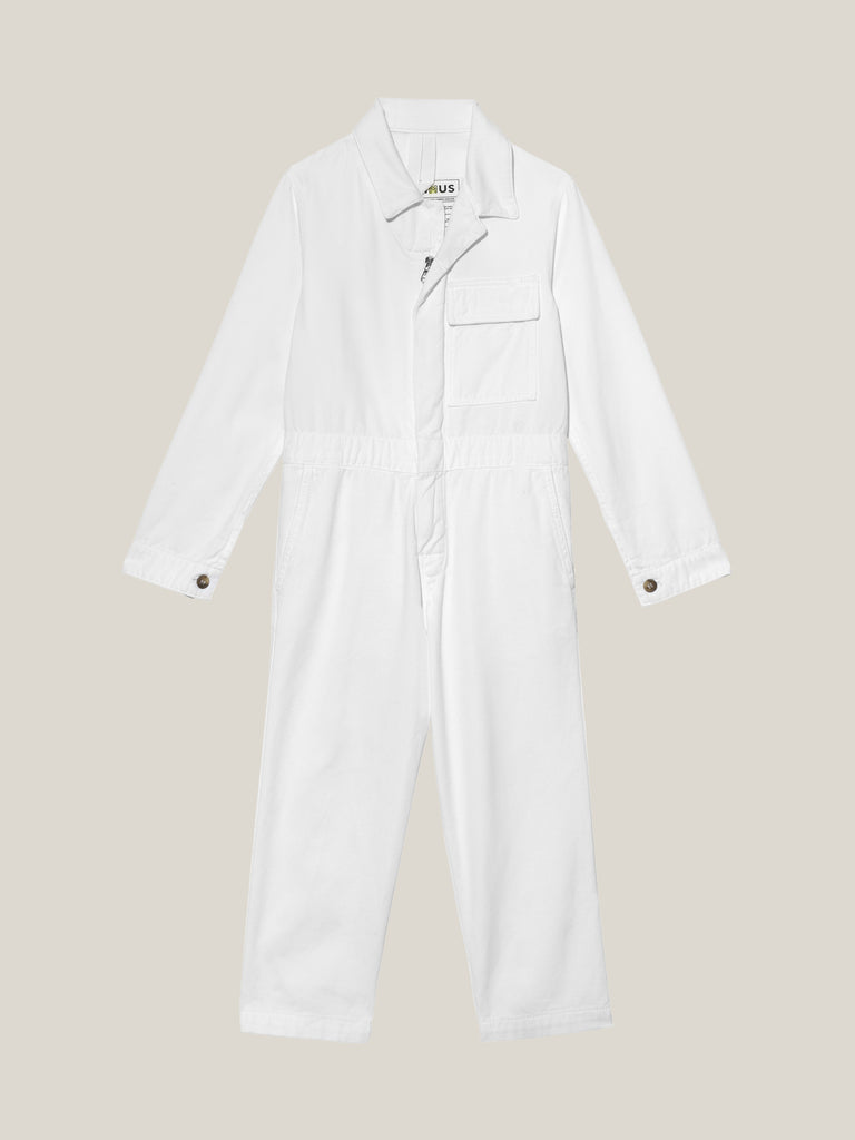 Toddlers' White Twill Boilersuit