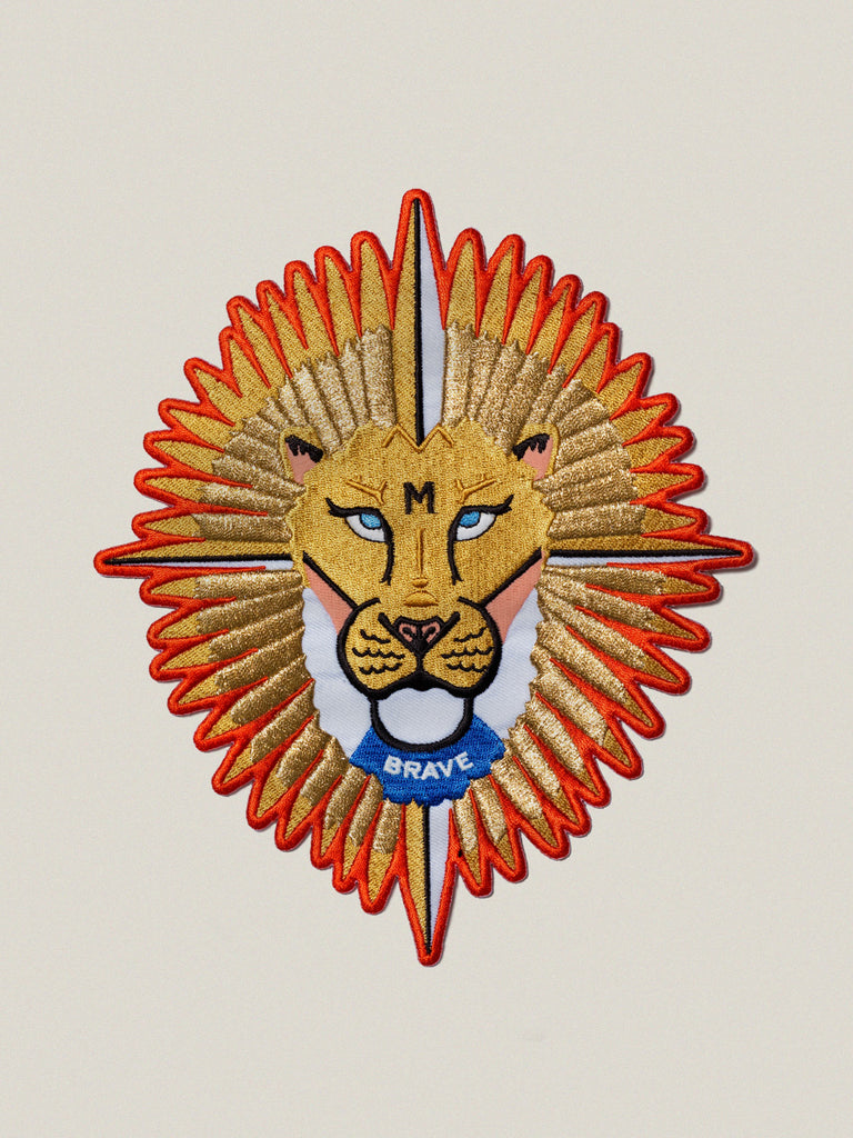 Large iron-on embroidered Brave Lion badge