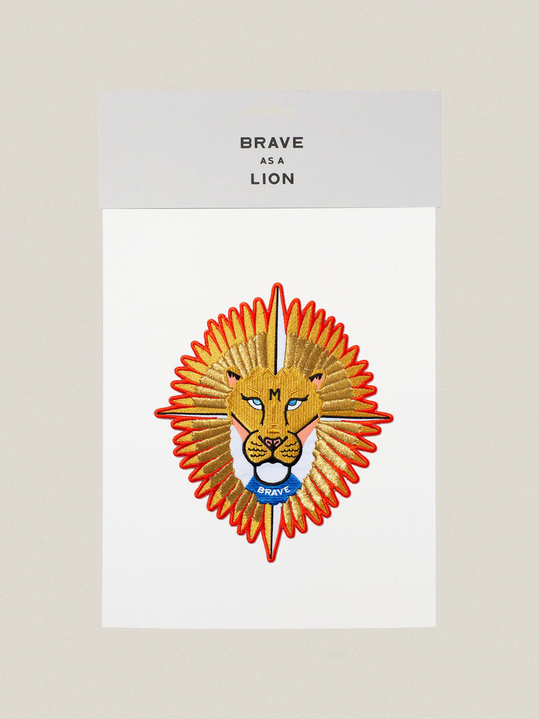 Large iron-on embroidered badge: Brave Lion