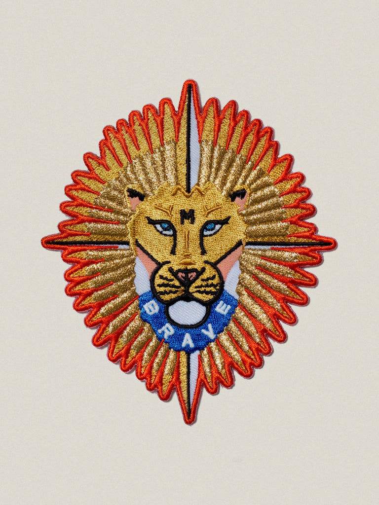 Small Iron-on Embroidered Brave Lion Badge