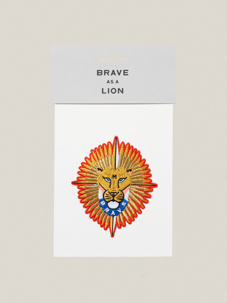 Small iron-on embroidered badge: Brave Lion
