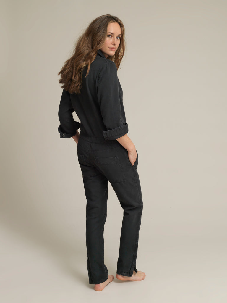 Women's Black Twill Boilersuit