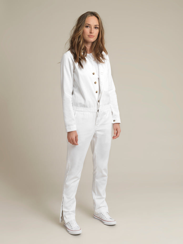 Women's White Twill Boilersuit