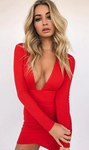 Deep V Neck Backless Skinny Mini Dress
